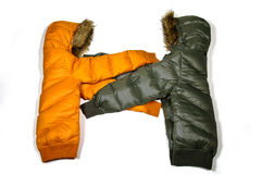 Hold cupple down jacket Stock Image