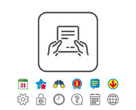 Hold Document line icon. Text File sign. Hold Document line icon. Agreement Text File sign. Contract with signature symbol. Calendar, Globe and Chat line signs Royalty Free Stock Image