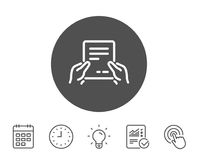 Hold Document line icon. Text File sign. Hold Document line icon. Agreement Text File sign. Contract with signature symbol. Report, Clock and Calendar line Stock Images