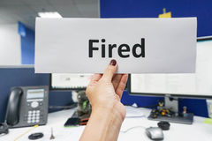Hold getting fired paper Royalty Free Stock Images