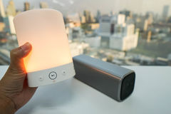 Hold glow bluetooth wireless speaker. In orange color Royalty Free Stock Photography