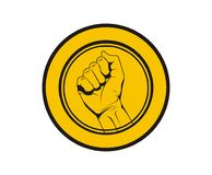 Hold hand logo coin. Dollar money shinny gold coin cartoon picture hold hand arm pose gesture logo design illustraton Royalty Free Stock Images