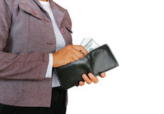 Hold money. Women hold money to pay royalty free stock image