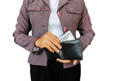Hold money. Women hold money to pay stock images