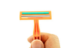 Hold orange razor isolated Royalty Free Stock Image