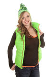 Hold out green vest smile Stock Photography