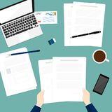 Hold paper document business top notebook vector Royalty Free Stock Photo