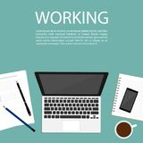 Hold paper hand flat vectorbusiness working space top view notebook vector. Business working space top view notebook vector Stock Image