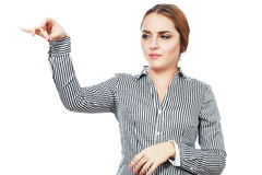 Hold something. Business woman hold something with disgust Stock Images