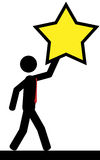 Hold star. Vector/illustration. A man is holding a star in his hand Royalty Free Stock Photo