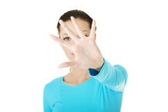 Hold on, Stop gesture Royalty Free Stock Images