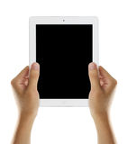 Hold tablet with black screen royalty free stock images