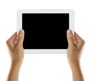 Hold tablet with black screen 2 royalty free stock image