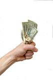 Hold on to your Money!. A man clinches his money to hold on to it Stock Images
