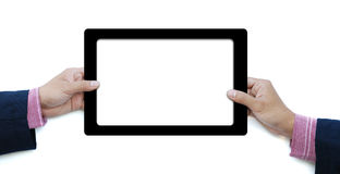 Hold touch screen computer Stock Image