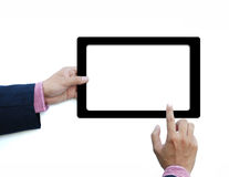 Hold touch screen computer Royalty Free Stock Images