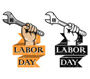 Hold Wrench Labor Day Badge Stock Images