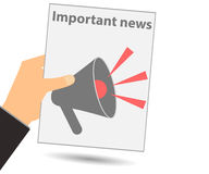 Hold in your hand a newspaper. Important news. Megaphone. View n. Ews in the newspaper. Vector illustration Stock Images