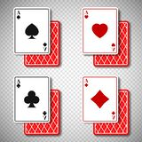 Holdem classic poker casino cards 4 suits in realistic style,big win jackpot game casinos concept on transparent. Background.Gambling Business mockup banner vector illustration