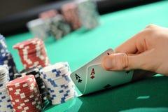 Holdem de texas do póquer: Dois ás Imagens de Stock