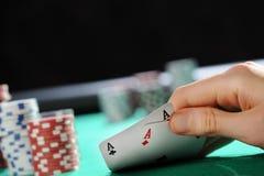 Holdem de texas do póquer: Dois ás Imagens de Stock Royalty Free