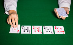 Holdem dealer with playing cards. Casino, gambling, poker, people and entertainment concept - close up of holdem dealer hands with playing cards Royalty Free Stock Photo