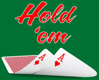 Holdem Poker pair ace cards under Stock Photos