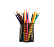 Holder Basket Full Of Colored Pencils Stock Images