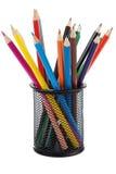 Holder Basket Full Of Colored Pencils Stock Images