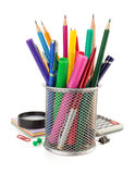 Holder basket and office supplies Stock Images