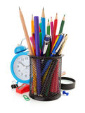 Holder basket and office supplies Stock Image
