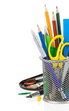 Holder basket and office supplies Stock Photography