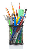 Holder full of pen and pencil stock image