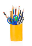 Holder full of pen and pencil Stock Images