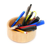 Holder full of pen and pencil Royalty Free Stock Photo