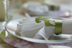 The holder for serviette a from a  green cardboard Royalty Free Stock Images