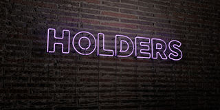 HOLDERS -Realistic Neon Sign on Brick Wall background - 3D rendered royalty free stock image Royalty Free Stock Image