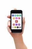 Holdind smartphone mit apps Lizenzfreies Stockfoto