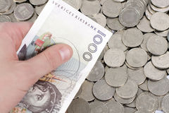 Holding 1000 Swedish Kronor Stock Images