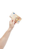 Holding 50 euro bill Stock Photography