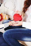 Holding A Heart-shaped Box Stock Photos