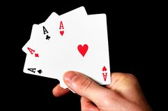 Holding 4 Aces Stock Images