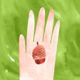 Holding acorn in hand autumn watercolor illustration with clipping mask