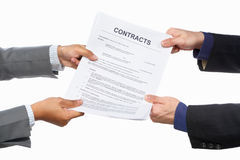 Holding agreement paper Royalty Free Stock Images