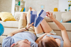 Holding air tickets Stock Photography