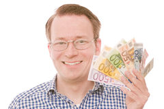 Holding all the euro banknotes (glasses version) Stock Photography
