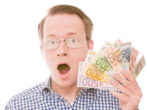 Holding all the euro banknotes shock (glasses version) Royalty Free Stock Photo