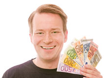 Holding all the euro banknotes Royalty Free Stock Photography