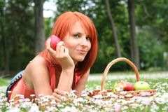 Holding apple Stock Photography