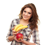 Holding a apple and banana Royalty Free Stock Photo